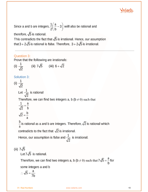NCERT Solutions for Class 10 Maths Chapter 1 Real Numbers