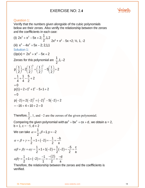 NCERT Solutions for Class 10 Maths Chapter 2 Polynomials - Free PDF
