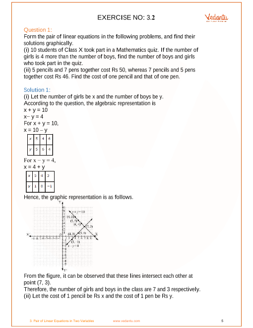 NCERT Solutions for Class 10 Maths Chapter 3 Pair of Linear