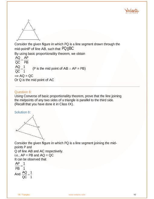 NCERT Solutions for Class 10 Maths Chapter 6 Triangles - Free PDF
