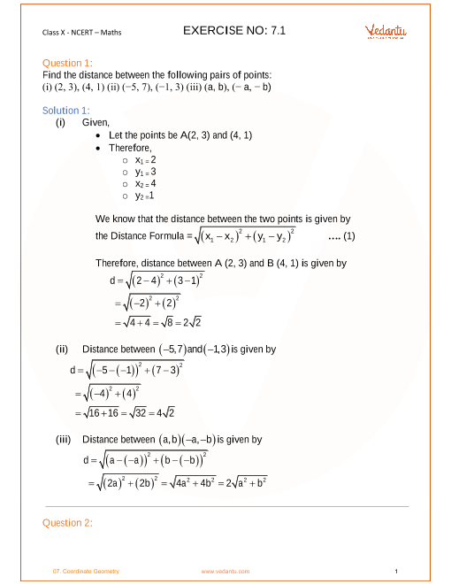 NCERT Solutions for Class 10 Maths Chapter 7 Coordinate