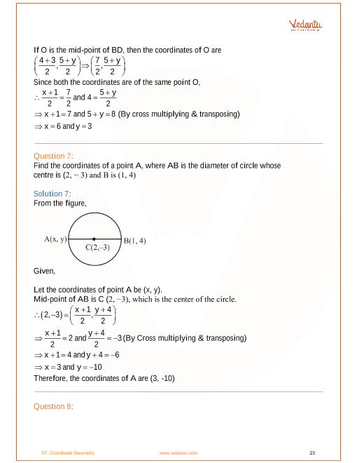 NCERT Solutions for Class 10 Maths Chapter 7 Coordinate Geometry