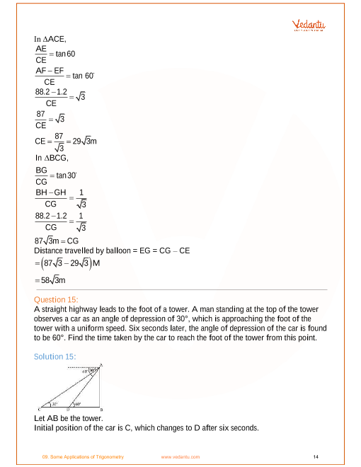 NCERT Solutions for Class 10 Maths Chapter 9 Some Applications of