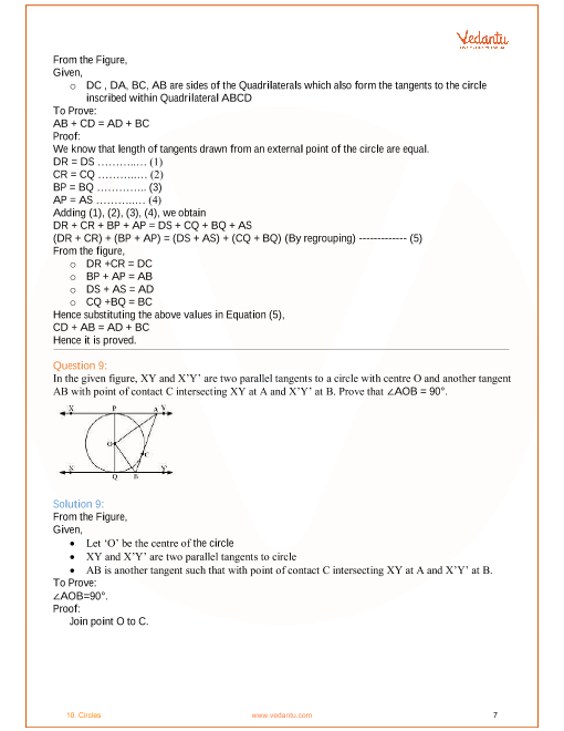 NCERT Solutions for Class 10 Maths Chapter 10 Circles - Free PDF