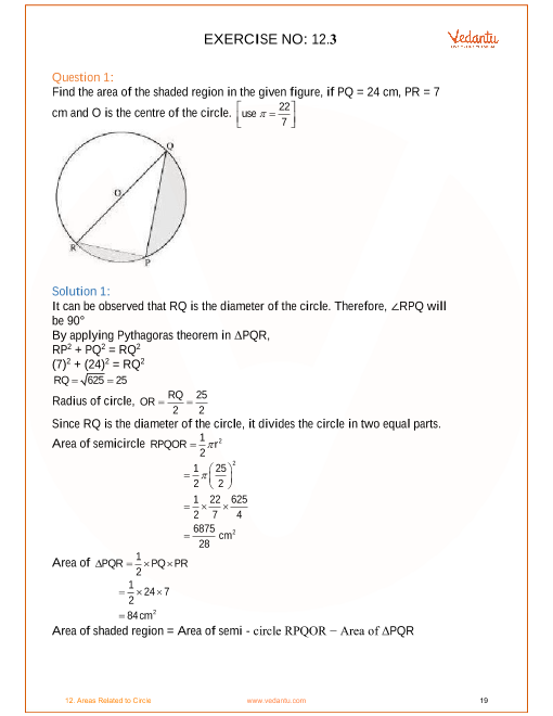 NCERT Solutions for Class 10 Maths Chapter 12 Areas Related