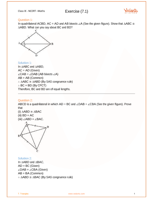 NCERT Solutions for Class 9 Maths Chapter 7 - Triangles - Free PDF