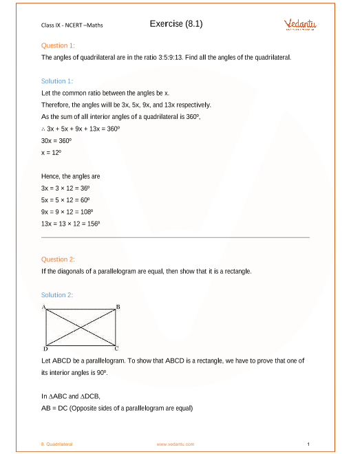 NCERT Solutions for Class 9 Maths Chapter 8 Quadrilaterals