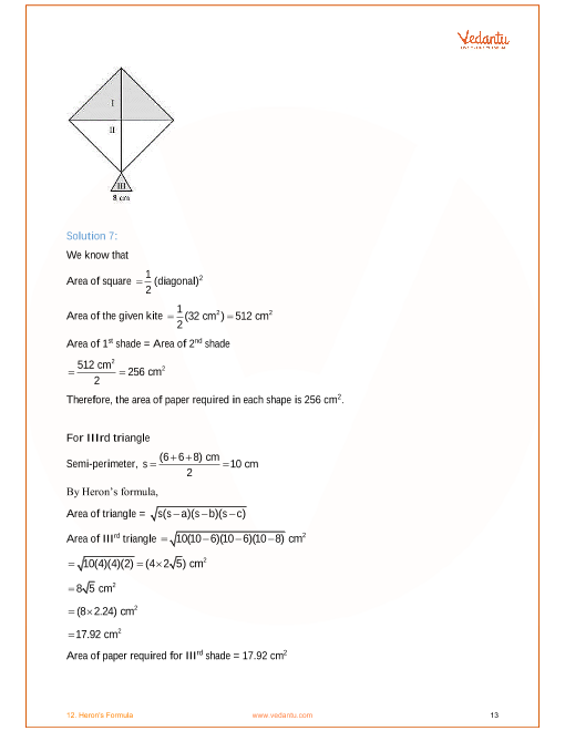 NCERT Solutions for Class 9 Maths Chapter 12 Heron's Formula - Free PDF