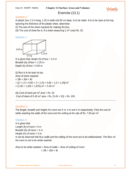 Ncert Solutions For Class 9 Maths Chapter 13 Surface Areas And