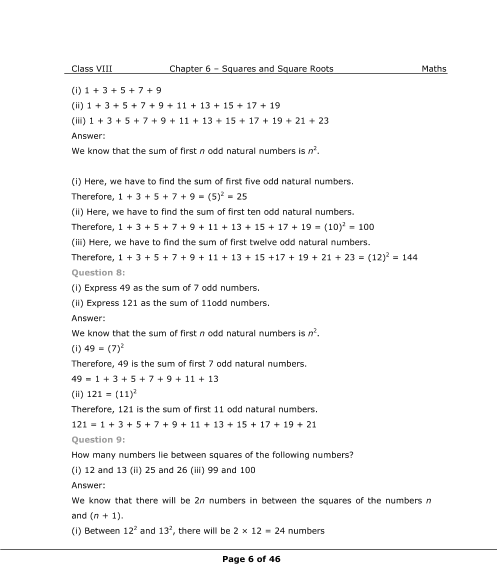 NCERT Solutions for Class 8 Maths Chapter 6 Squares and
