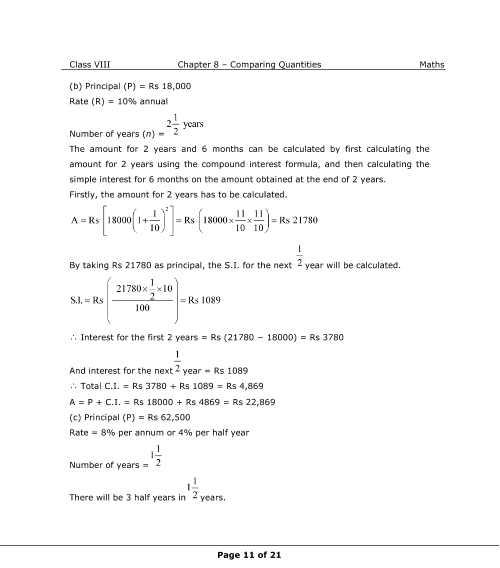 NCERT Solutions for Class 8 Maths Chapter 8 Comparing