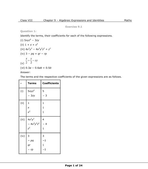 NCERT Solutions for Class 8 Maths Chapter 9 Algebraic