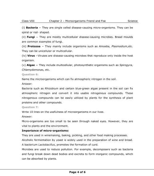 NCERT Solutions for Class 8 Science Chapter 2 - Microorganisms