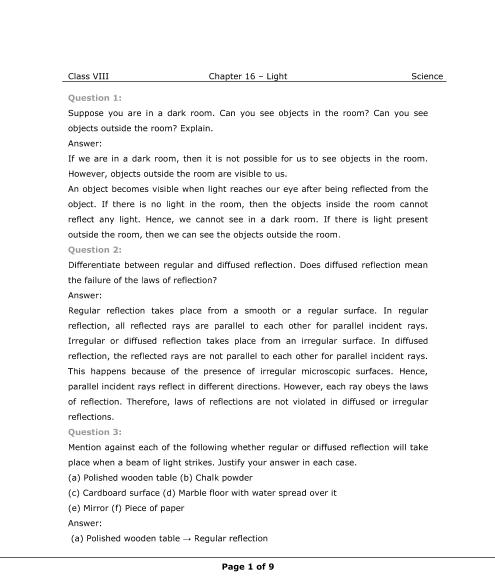 NCERT Solution-Light part-1