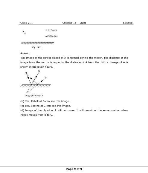 NCERT Solutions for Class 8 Science Chapter 16 - Light