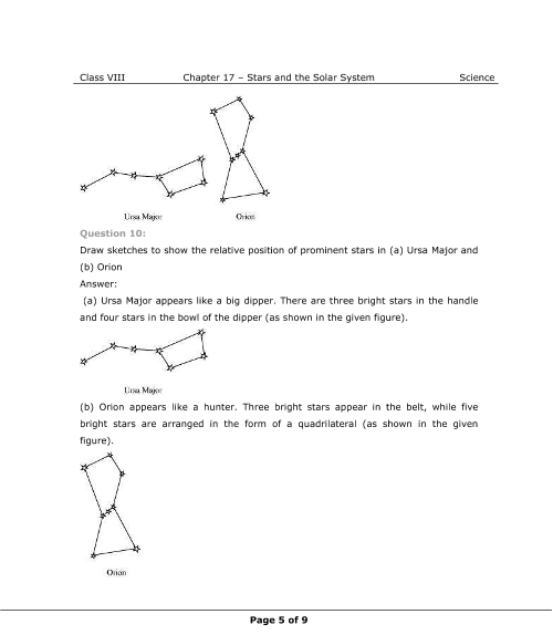 NCERT Solutions for Class 8 Science Chapter 17 - Stars and The Solar
