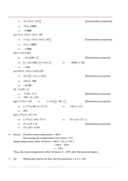 NCERT Solutions for Class 7 Maths Chapter 1 Integers - Free PDF