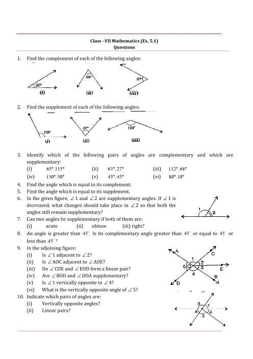 NCERT Solutions for Class 7 Maths Chapter 5 Lines and Angles - Free PDF