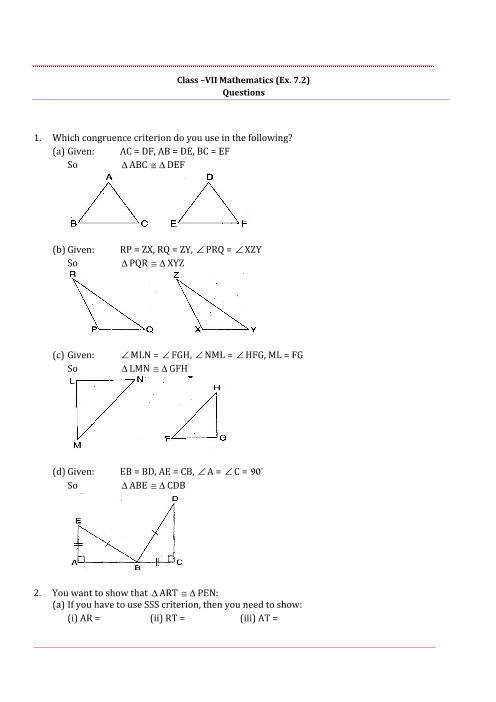 NCERT Solutions for Class 7 Maths Chapter 7 Congruence of Triangles ...