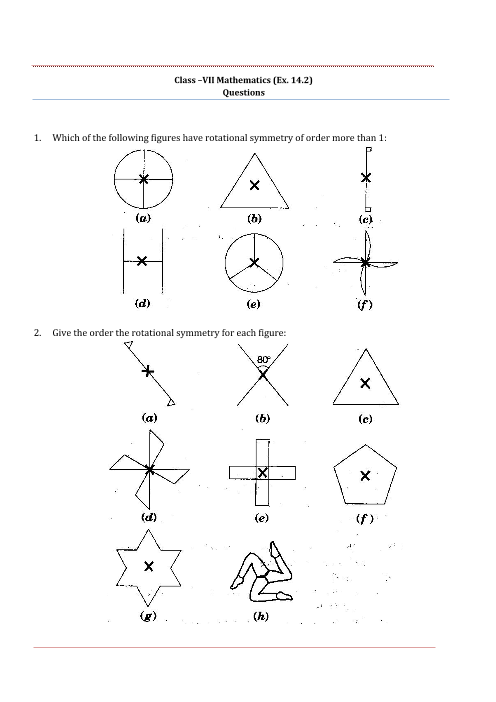 NCERT Solutions for Class 7 Maths Chapter 14 Symmetry - Free PDF