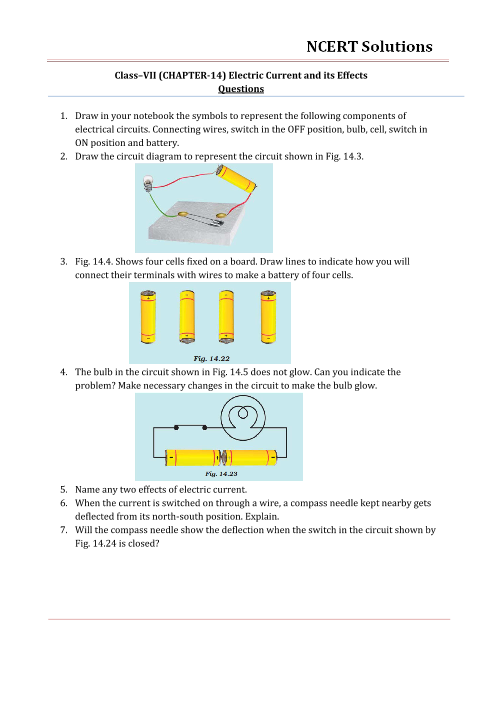NCERT Solutions for Class 7 Science Chapter 14 - Electric