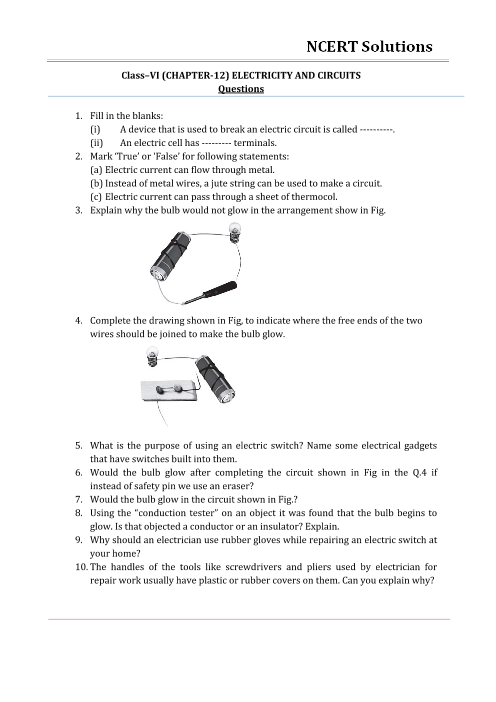 NCERT Solutions for Class 6 Science Chapter 12 - Electricity