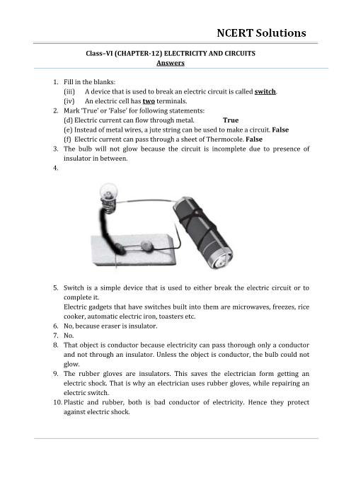 NCERT Solutions for Class 6 Science Chapter 12 - Electricity and