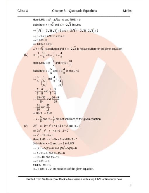 RD Sharma Class 10 Maths Solutions Chapter 8 - Quadratic