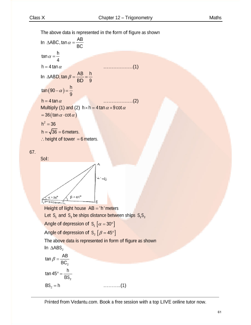 RD Sharma Class 10 Maths Solutions Chapter 12 - Some Applications of