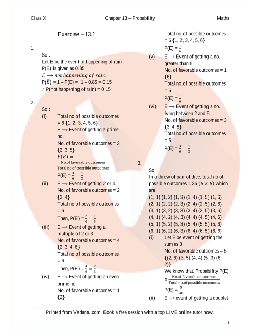 RD Sharma Class 10 Maths Solutions Chapter 13 - Probability