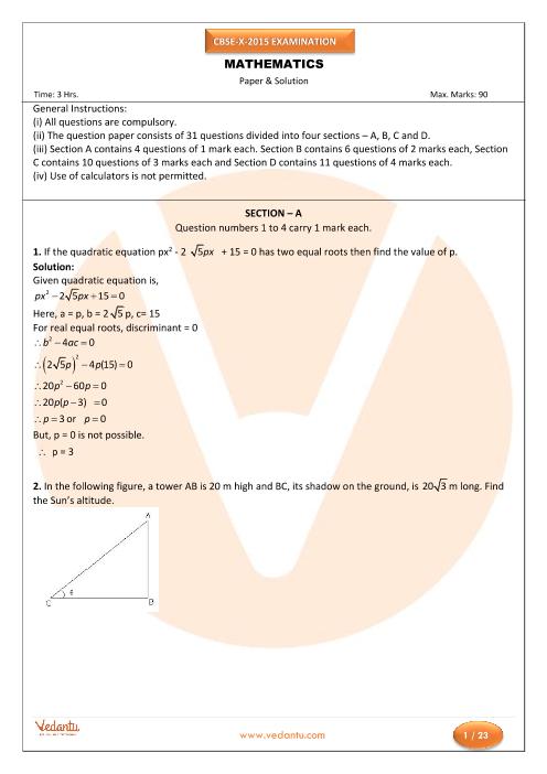 CBSE Class 10 Maths Previous Year Question Paper 2015-New part-1