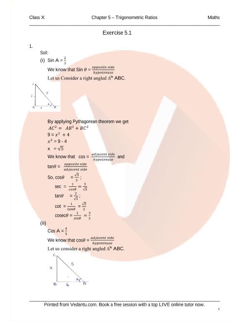 RD Sharma Class 10 Maths Solutions Chapter 5 - Trigonometric