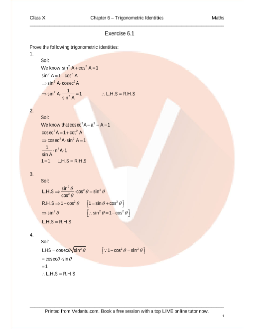 RD Sharma Class 10 Maths Solutions Chapter 6 - Trigonometric