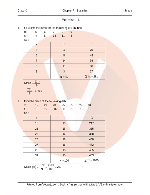 RD Sharma Class 10 Maths Solutions Chapter 7 - Statistics