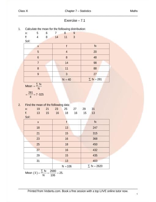 RD Sharma Class 10 Maths Solutions Chapter 7 - Statistics