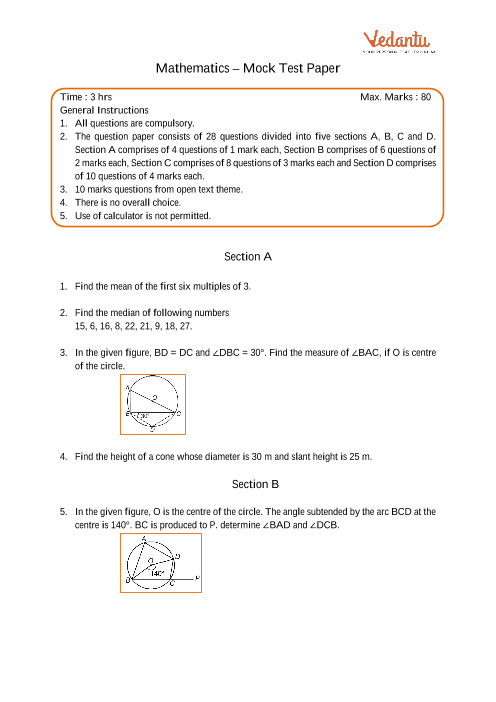 CBSE Sample Question Papers for Class 9 Maths - Mock Paper 1