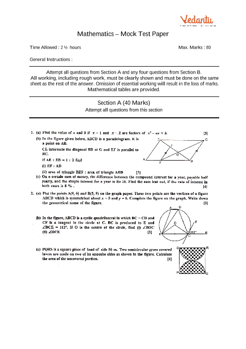 ICSE-10th-Maths - Mock Test Paper-1 part-1
