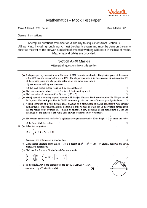 ICSE Sample Question Papers for Class 10 Maths - Mock Paper 2