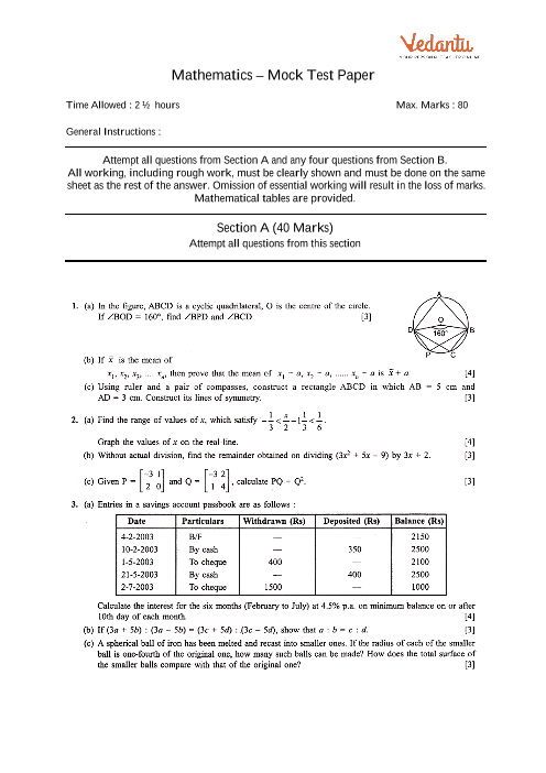 Icse Sample Question Papers For Class 10 Maths Mock Paper 3