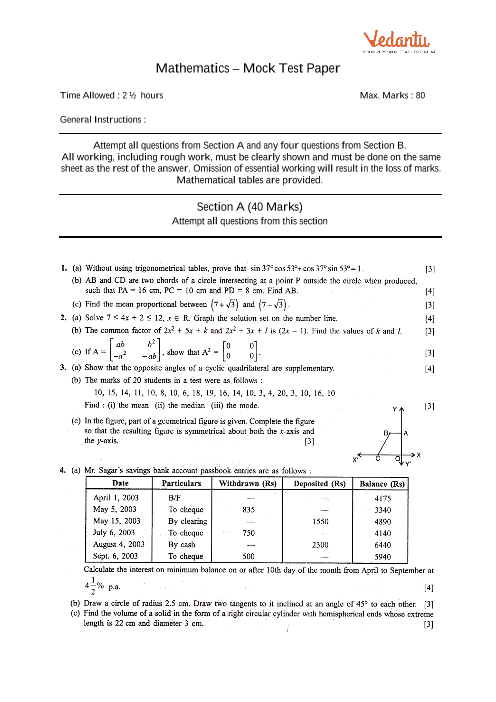 ICSE Sample Question Papers for Class 10 Maths - Mock Paper 4