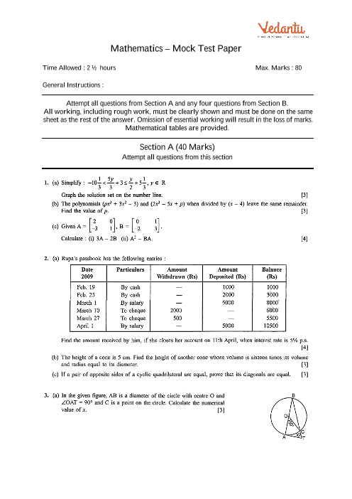 ICSE Sample Question Papers for Class 10 Maths - Mock Paper 6