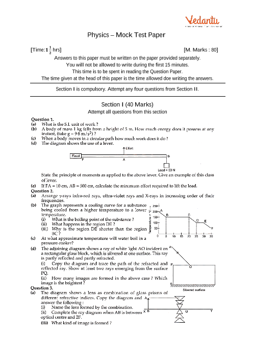 ICSE Sample Question Papers for Class 10 Physics - Mock Paper 3
