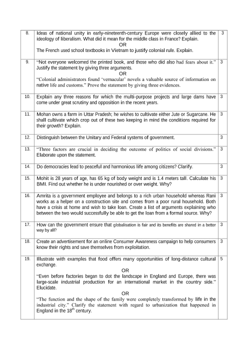 CBSE Sample Question Papers for Class 10 Social Science