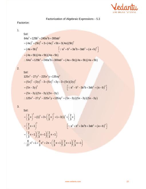 RD Sharma Class 9 Maths Solutions Chapter 5 - Factorization