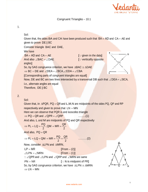 RD Sharma Class 9 Maths Solutions Chapter 10 - Congruent Triangles