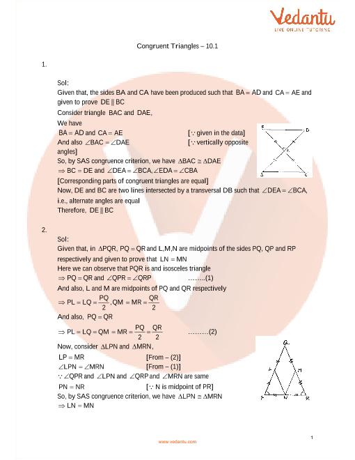 RD Sharma Class 9 Maths Solutions Chapter 10 - Congruent Triangles