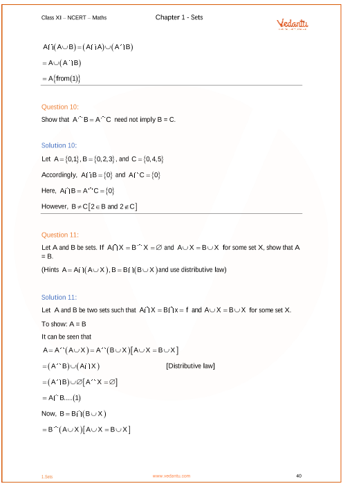 NCERT Solutions for Class 11 Maths Chapter 1 Sets - Free PDF