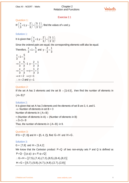 NCERT Solutions for Class 11 Maths Chapter 2 Relations and ...