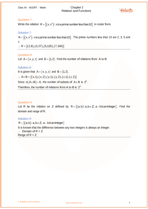 NCERT Solutions for Class 11 Maths Chapter 2 Relations and
