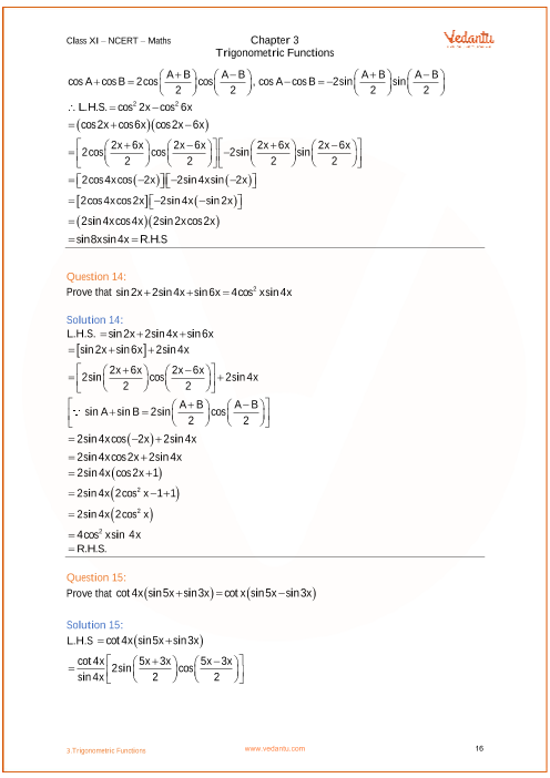 NCERT Solutions for Class 11 Maths Chapter 3 Trigonometric Functions